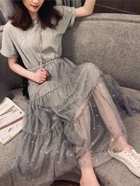 胖mm大码2019新款夏天网纱裙子仙女超仙甜美森系很仙的遮肚连衣裙