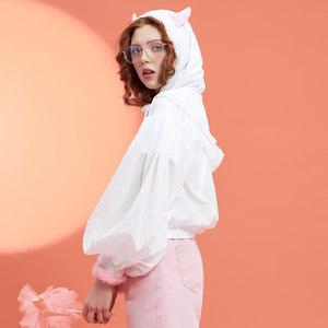 美特斯邦威轻短外套女2019夏装新款宽松休闲外套防晒服夹克上衣潮