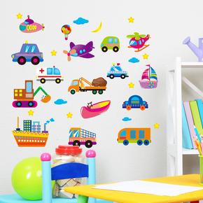小汽车贴纸宝宝卧室床头贴画儿童房幼儿园墙面创意装饰卡通墙纸贴