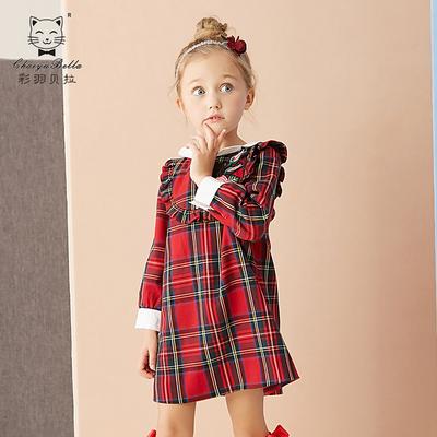 女童秋装长袖连衣裙2018新款儿童洋气女宝宝格子裙子女孩红色秋季