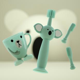 婴儿牙刷儿童硅胶训练宝宝0 3岁婴幼儿乳牙360度软毛牙膏套装