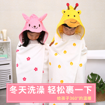 Yongsheng childrens bath towel cotton towel thickening soft absorbent cloak with a cap can be worn baby cartoon bathrobe