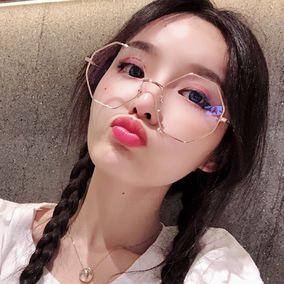 韩国软妹八角眼镜超轻文艺圆脸多边形眼镜框女复古小清新眼镜架男
