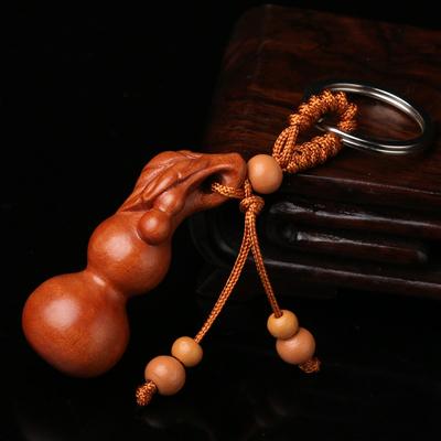 桃木葫芦挂件汽车钥匙扣配件实木平安葫芦随身包包挂饰挂件