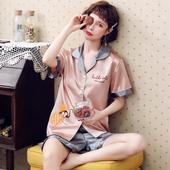 冰丝大码 家居服短裤 两件套 睡衣女夏季短袖 仿真丝绸性感女士薄款图片