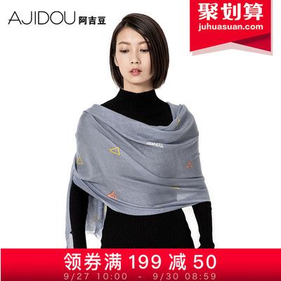 阿吉豆冬季新款纯羊毛围巾女 冬季保暖长款三角几何大披肩围脖
