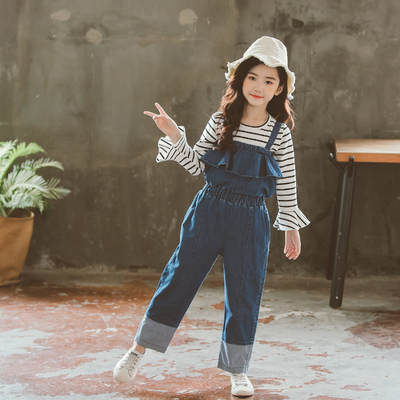 大女童背帶褲連體褲秋季2018新款春秋裝牛仔褲兒童闊腿褲女孩褲子