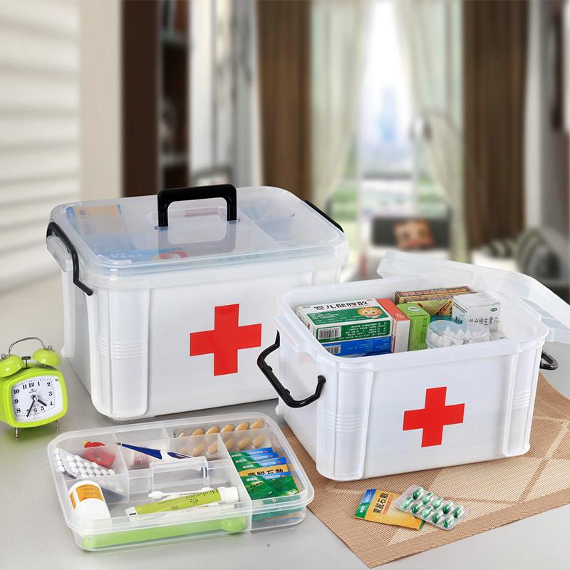 车载便捷药箱家庭大号医药箱多层急救收纳保健箱子家用塑料药箱