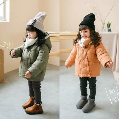 断码处理 洋气暖和 儿童带围巾连帽棉衣 加厚棉服 男童女童棉袄冬