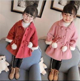 童装女童冬装2018新款韩版双排扣拼接针织袖翻领加厚棉服时尚外套