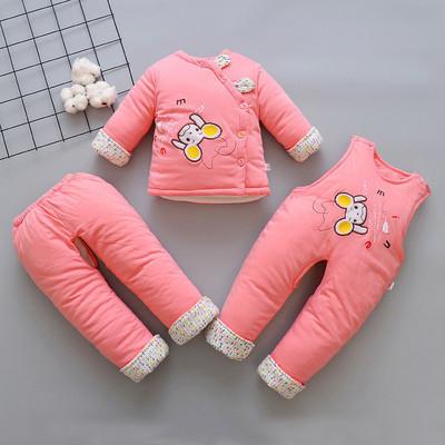 女宝宝背带裤棉衣套装冬装婴儿棉服三件套加厚0-1-2岁女童外出服