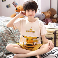 Children's pajamas boys short-sleeved cotton summer thin section boy big boy cartoon baby home service suit summer