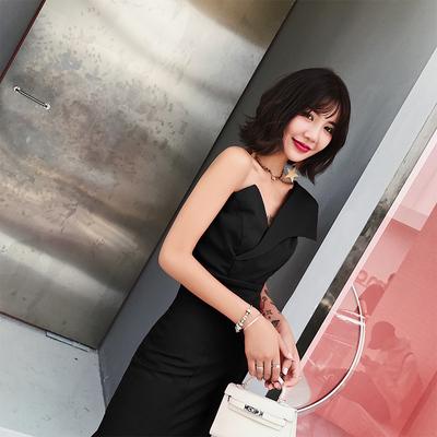 宴会晚礼服2018新款秋冬季高贵优雅黑色长款抹胸聚会性感礼服裙女