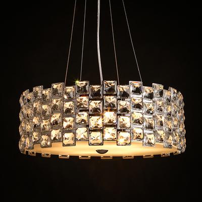 美式圆形铁艺K9轻奢水晶小吊灯单头创意大气玄关餐厅桌酒店包厢灯