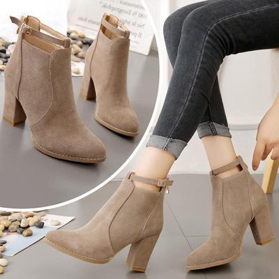 单鞋2018新款韩版百搭裸靴粗跟单靴高跟女靴子短靴女式粗跟女鞋秋