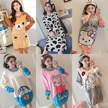 珊瑚绒冬季睡裙女长款可爱韩版学生法兰绒秋季睡衣加厚保暖家居服