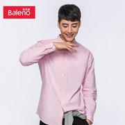 Baleno/班尼路衬衫男长袖 休闲青年纯色牛津纺修身白衬衣男