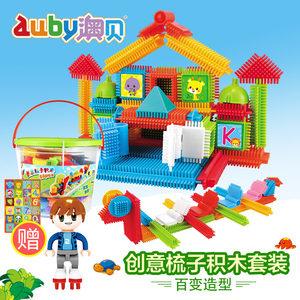 澳贝宝宝创意梳子拼插积木儿童大颗粒塑料拼装益智玩具3-4-6周岁