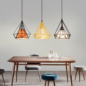 北欧简约现代创意个性灯饰饭厅灯具餐桌吧台三头铁艺钻石餐厅吊灯