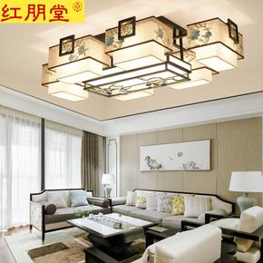 新中式吸顶灯客厅卧室长方形刺绣简约现代家用大气中国风中式灯具
