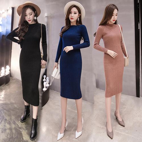 秋冬新款韩国半高领螺纹修身中长款毛衣裙毛线包臀裙针织连衣裙女