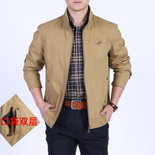 Jackets Men Spring and Autumn Middle-aged Leisure Middle-aged and Old-aged Cotton 30-40 Dad wears 50 thin collar jacket on both sides