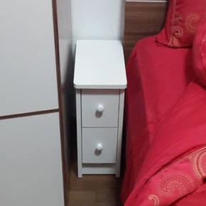 【卧室神器】20/25/30/35/40cm迷你床头柜小户型超窄带锁白色圆角