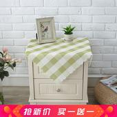 防水床头柜盖布格子防尘保护罩冰箱电视机盖巾卧室田园洗衣机帘子图片