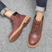 男鞋夏季中帮马丁靴男防水防滑雪地靴英伦韩版皮靴工装靴男潮靴子