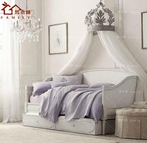 美式乡村欧式简约实木沙发床 法式复古做旧储物儿童沙发床 可定制
