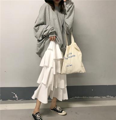 扑啦啦韩风Chic慵懒宽松人像印花长袖中长卫衣高腰蛋糕裙半身长裙