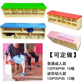 幼儿园蒙氏防火木板可拆装儿童舞房软边坐垫2层收纳鞋柜家具定做