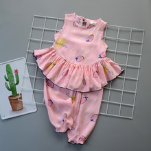 Children's suits, cotton clothes, air conditioning clothes, thin girl's clothes, baby's cotton clothes, children's clothes, summer man-made cotton household clothes and pajamas