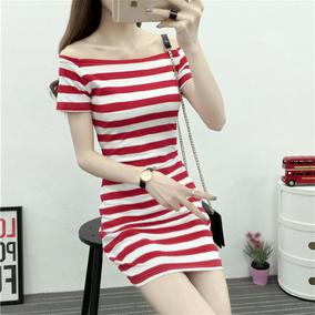 2019春夏装新款一字领红白条纹短袖连衣裙大码韩版女棉修身包臀潮