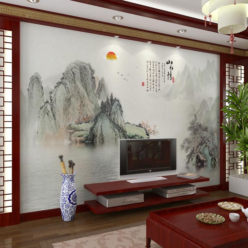 壁画大师现代艺术田园手绘墙纸中式客厅壁纸墙布卧室背景墙电视墙