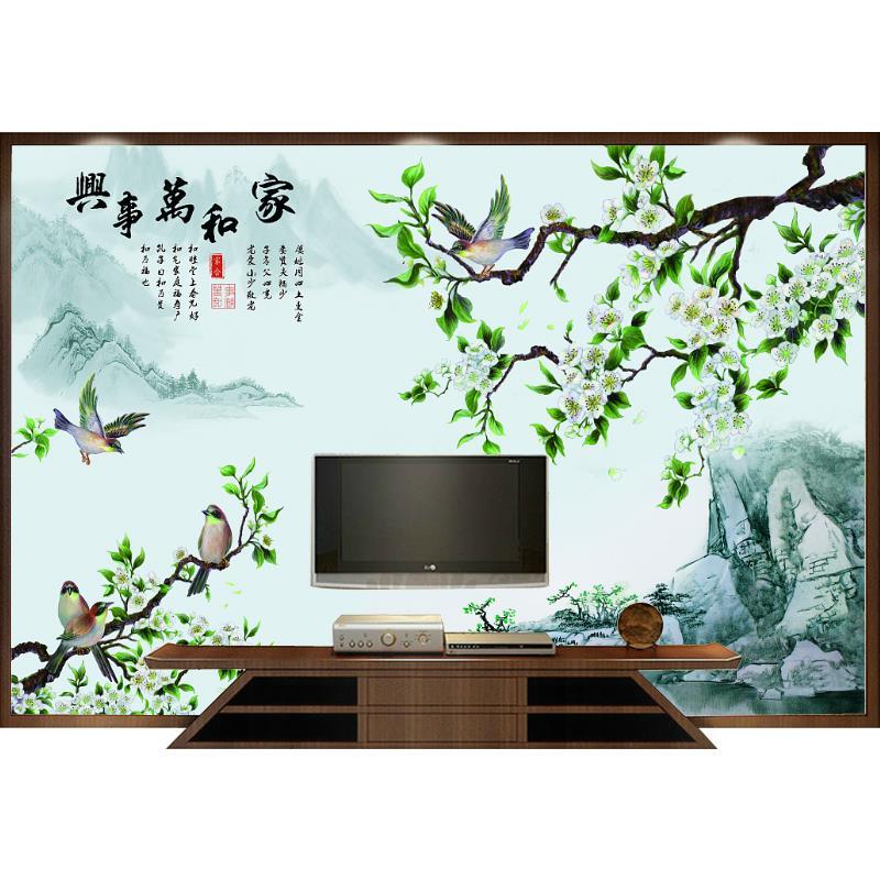 立体壁画新中式电视背景墙家和欧式卧室墙纸无缝无纺布墙布定制 3D
