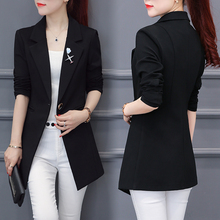 Medium and Long-style small suit jacket Spring and Autumn 2019 new Korean version Baitao slim chic suit spring thin