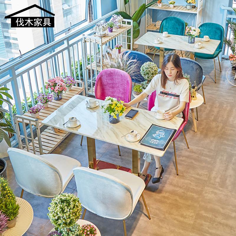 甲壳虫网红ins风店咖啡厅桌椅 休闲区时尚甜品店奶茶店大理石餐桌