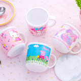 Cute cartoon kids cartoon handle mini water cup with lid small cup Children's cup melamine anti-fall cup