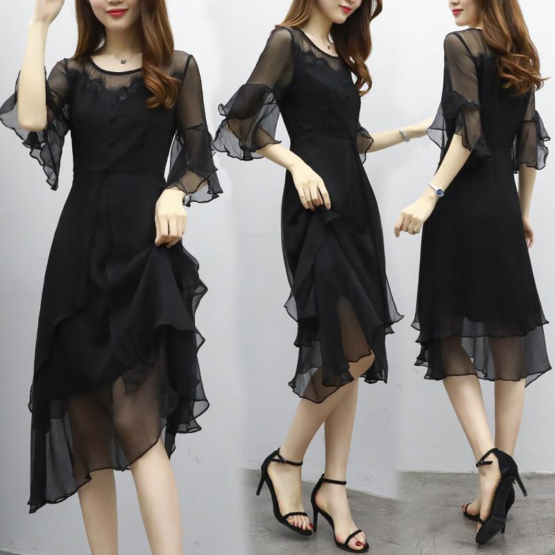 中袖连衣裙黑
