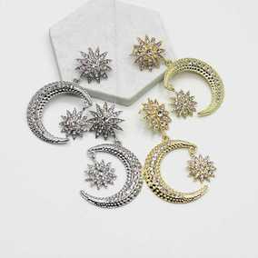 新款  欧美巴洛克时尚星星月亮镶钻金属长款耳环 走秀夜店耳环 女