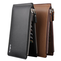 Card package mens ultra-thin wallet mens long multi-card soft leather zipper bank card sets credit card folder phone bag tide