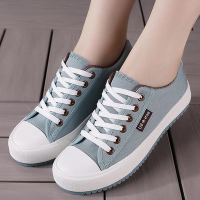 鞋子女帆布鞋2018春季新款韩版百搭原宿板鞋中学生蓝色休闲鞋单鞋