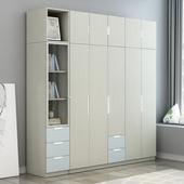 简约现代经济型衣柜组装二三门木质租房大衣橱四五六门卧室柜子