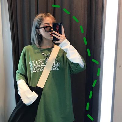 2019春季新款韩版原宿bf风假两件字母印花宽松长袖T恤女学生上衣