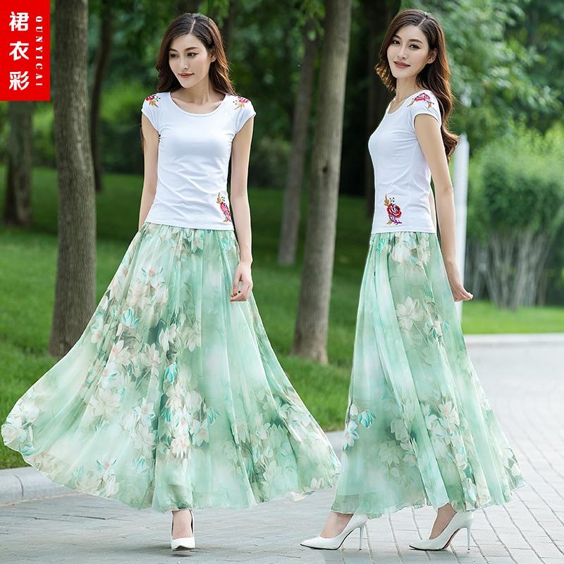 裙衣彩夏季雪纺半身长裙A字裙印花跳舞裙显瘦大裙摆大码沙滩长裙