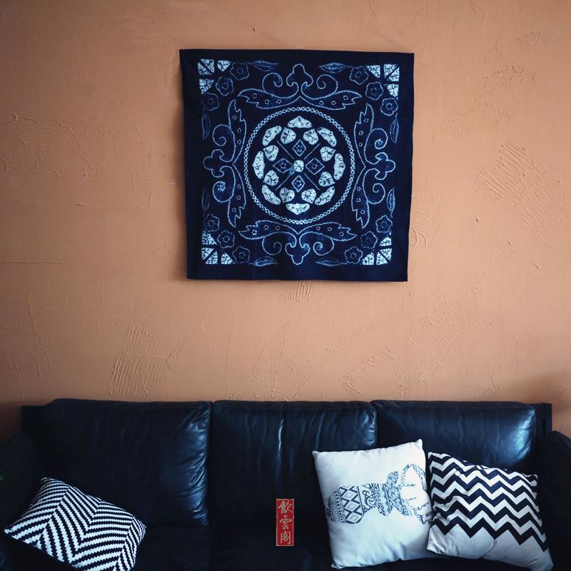 云南大理扎染布植物蓝染纯棉布料正方桌布沙发巾屏风装饰墙面挂布