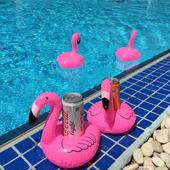 水上充气可镭痔滋鹛鹑σ料杯托 拍照游泳玩具 粉色火烈鸟漂浮杯座