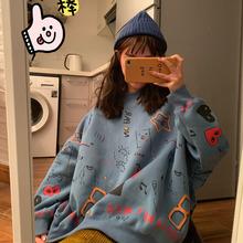秋季新款韩版chic宽松显瘦百搭涂鸦印花加厚圆领长袖卫衣上衣女装
