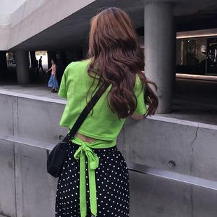韩版九州娱乐休闲套装女波点系带高腰九分灯笼裤+纯色露腰绑带短袖T恤